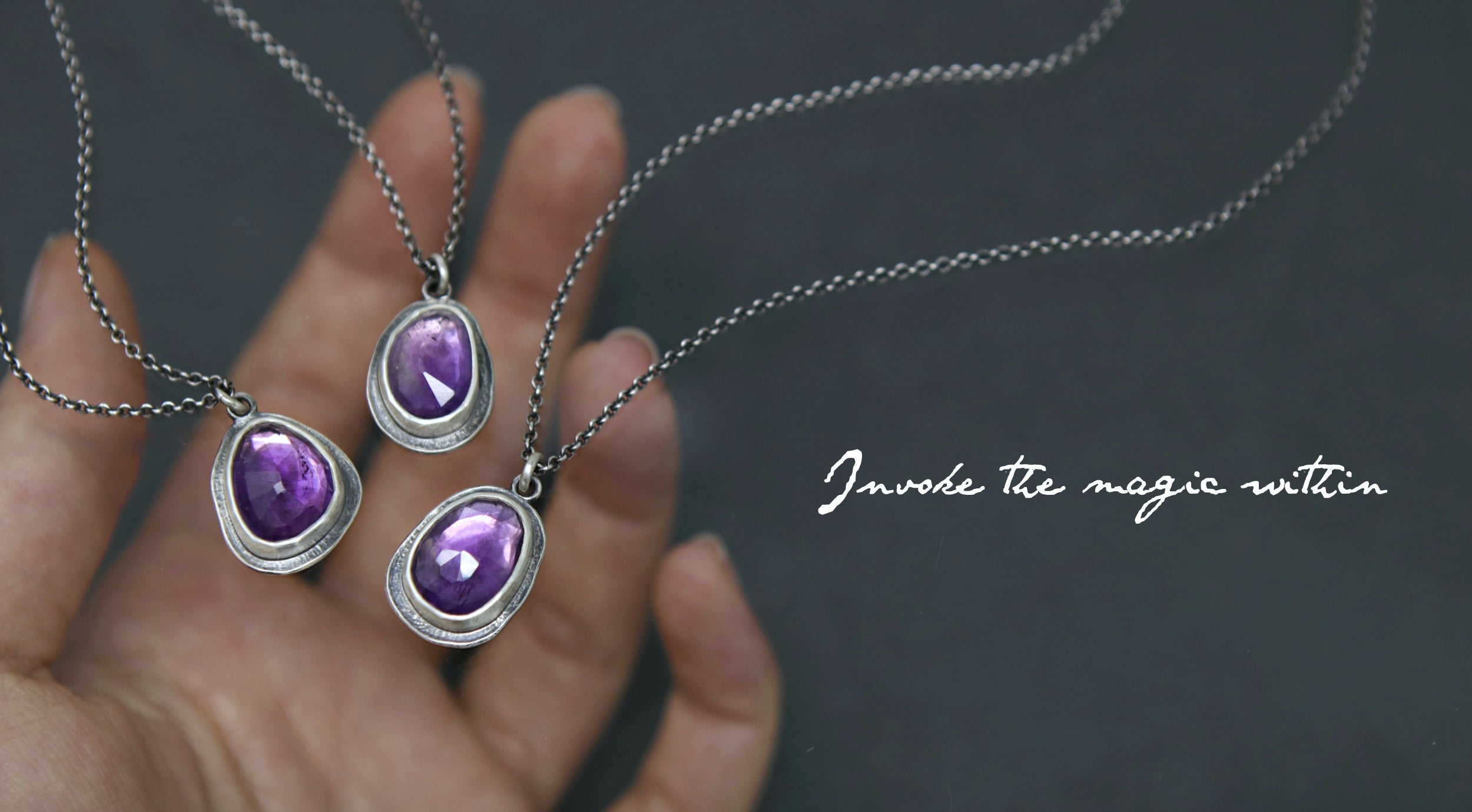 Rosecut Amethyst pendant in sterling silver by jay cuneo from the Witching Hour Collection