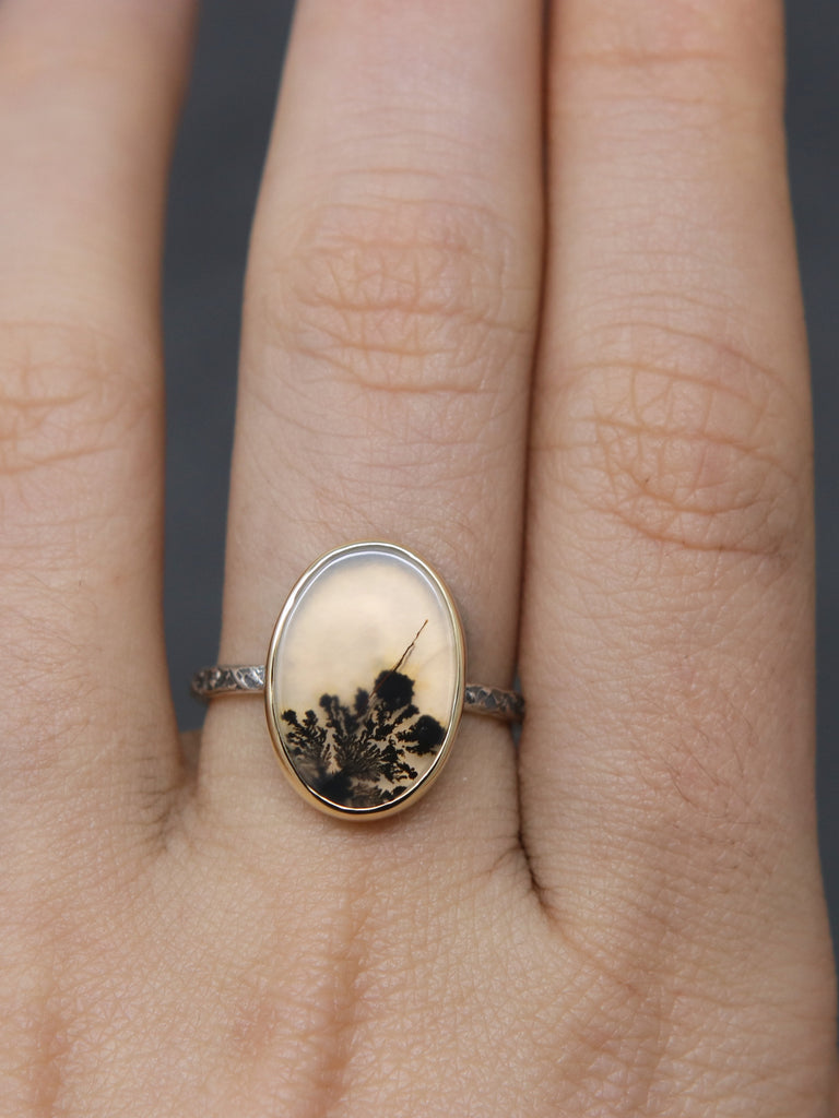 OOAK Oval Dendritic Agate 18k Relic Ring - Size 7