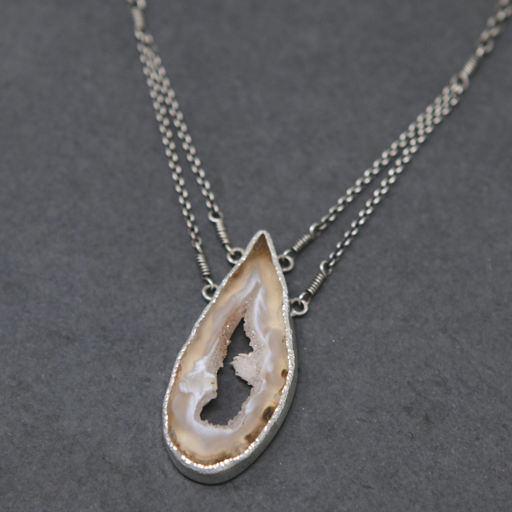 OOAK Druzy Agate Slice Necklace