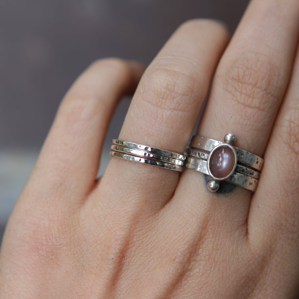Hammer Faceted Stacking Ring