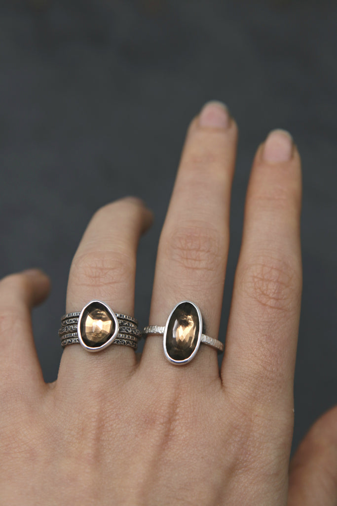 Smokey Quartz Stargazer Ring - Size 7 OOAK