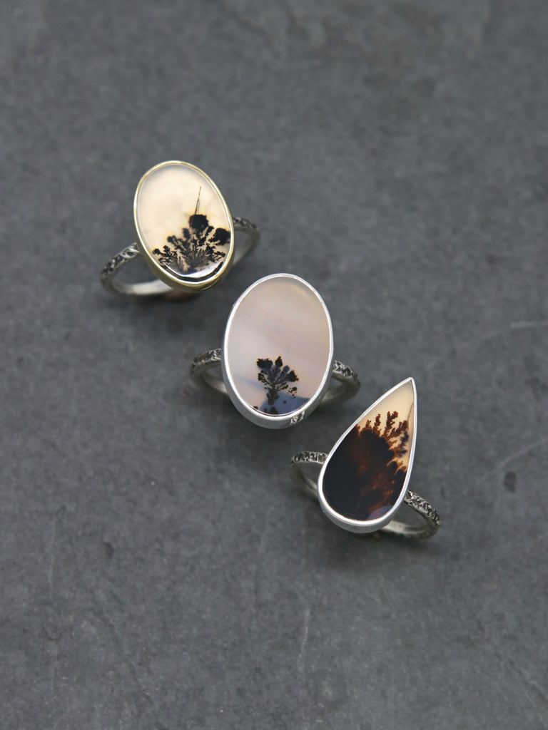 OOAK Oval Dendritic Agate Relic Ring - Size 6.5