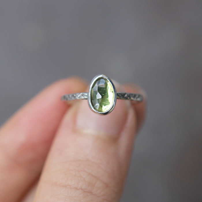 Peridot Rose Relic Ring - Size 6.5