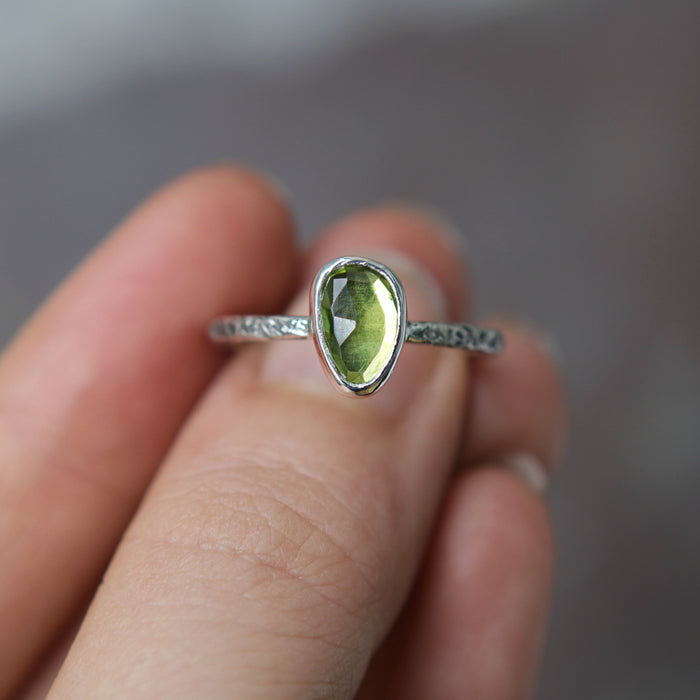 Peridot Rose Relic Ring - Size 8