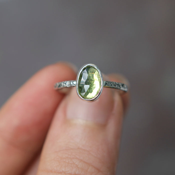 Peridot Rose Relic Ring - Size 5.5