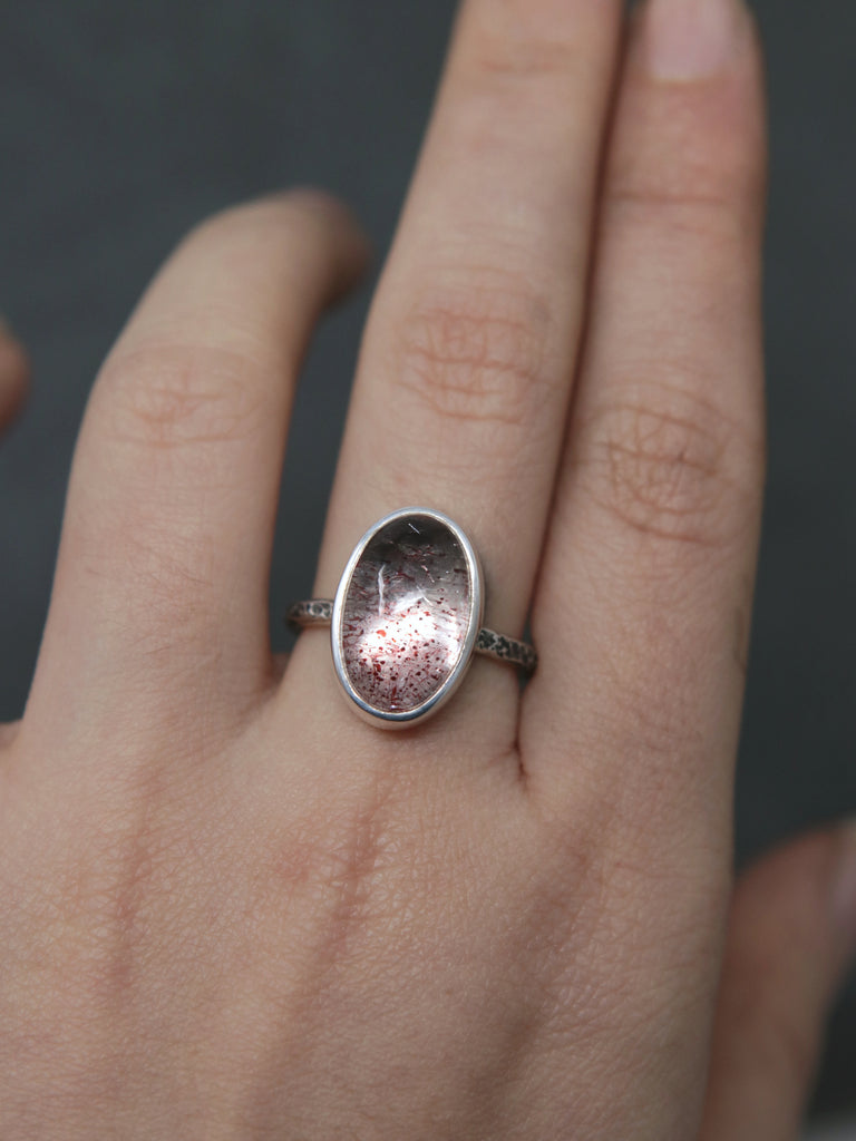 Strawberry Galaxy Quartz Relic Ring - Size 7 OOAK