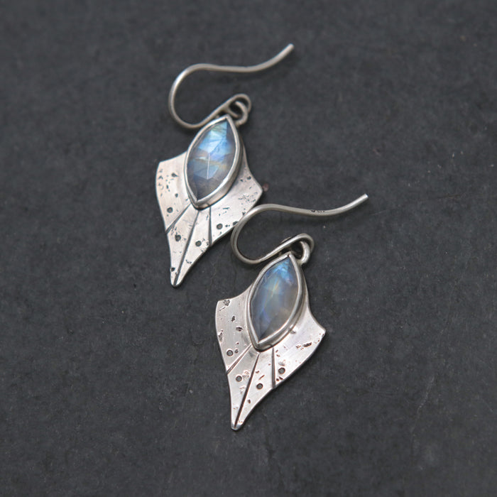 Little Rainbow Moonstone Trillium Earrings