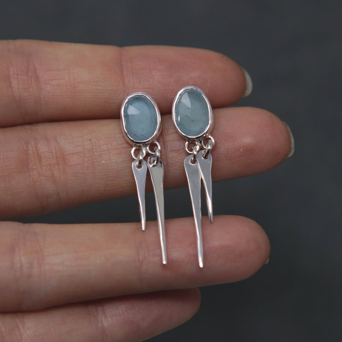 OOAK Aquamarine Spiritus Fringe Earrings
