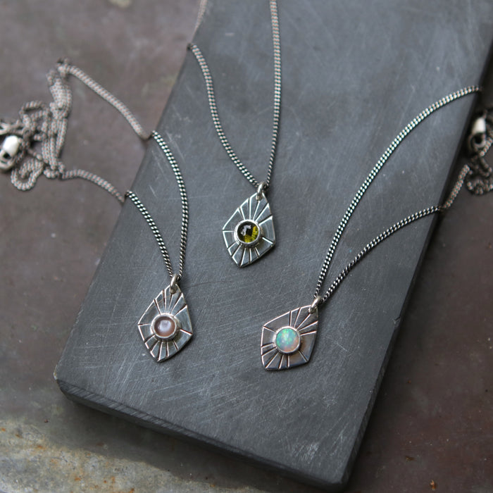 Opal Radial Spade Necklace