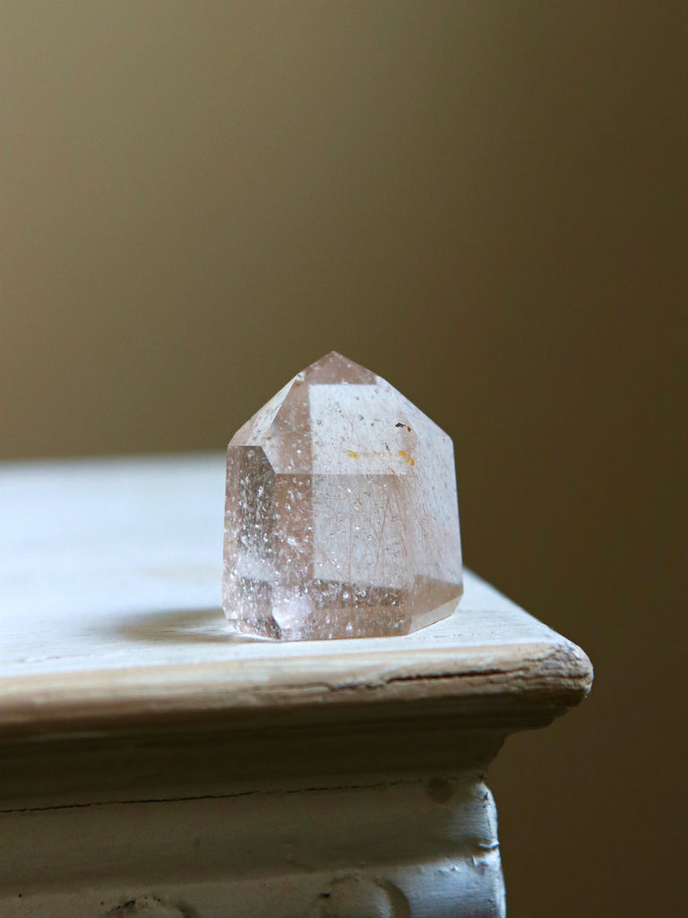 Pink Champagne Quartz Crystal Point