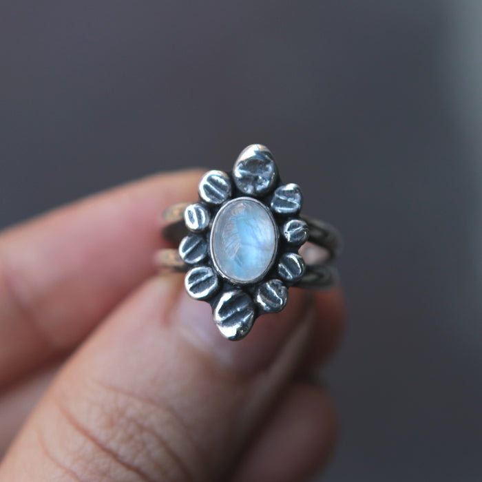 OOAK Floral Moonstone Ring - Size 5.75