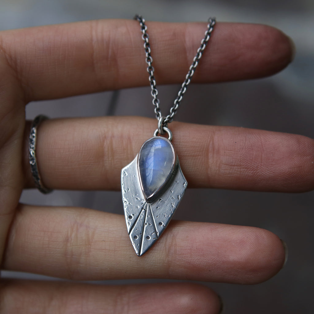 Moonstone Shield of Kerberos Necklace - One Available