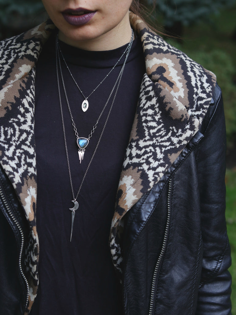 Moon Spear Long Layering Necklace