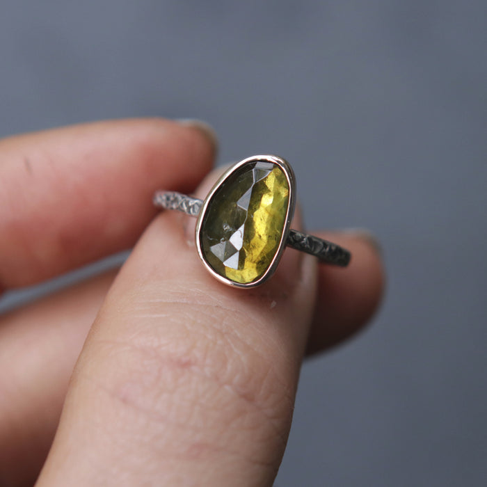 OOAK Moss Tourmaline Relic Ring - Size 6