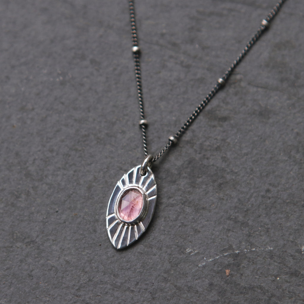 OOAK Pink Tourmaline Radial Marquise Necklace