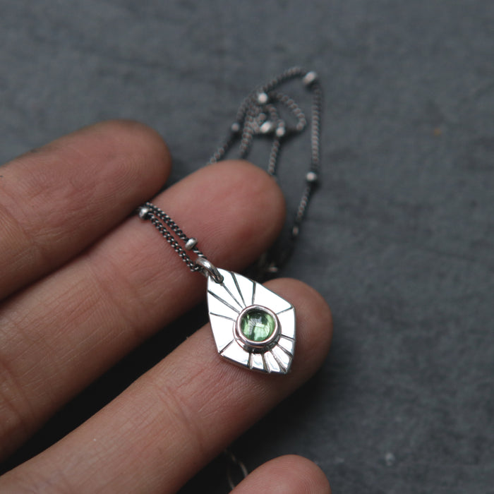 Green Tourmaline Radial Spade Necklace *Limited*