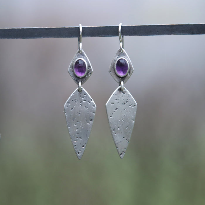 Amethyst Mini Double Dagger Earrings
