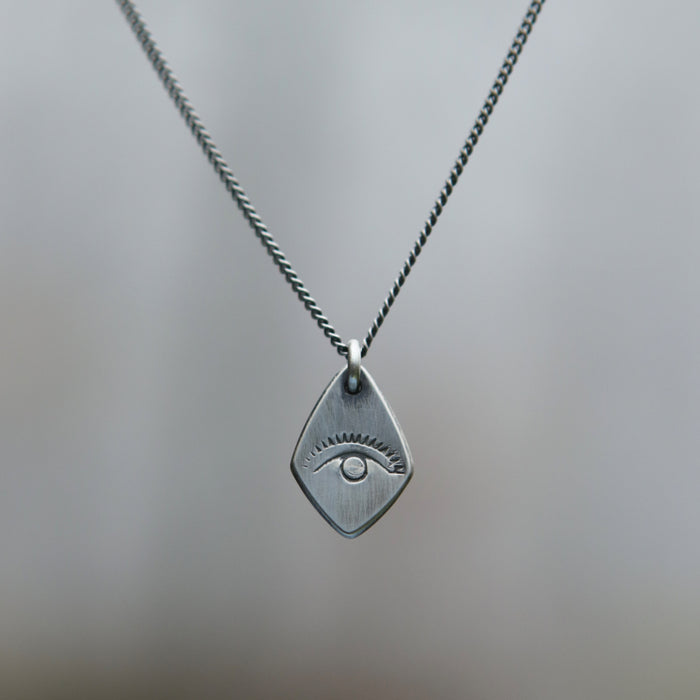 All Seeing Eye Spade Charm Necklace