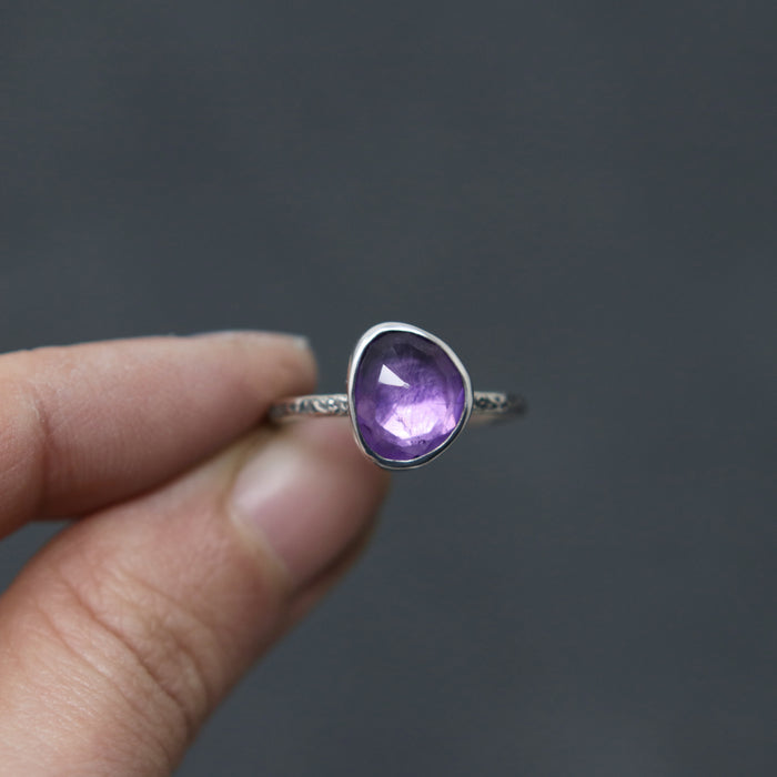 Amethyst Rose Relic Ring - Size 6.75 OOAK