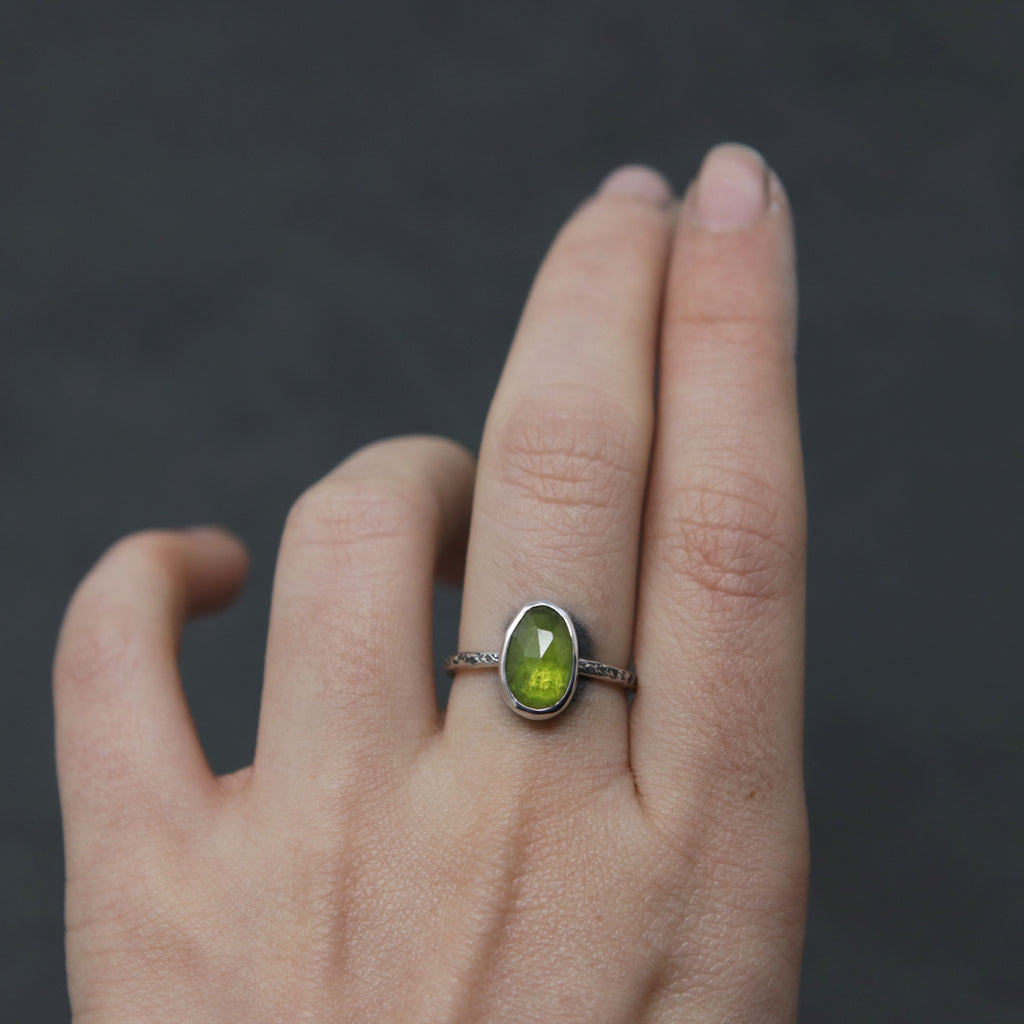 Vesuvianite Rose Relic Ring - Size 7 OOAK