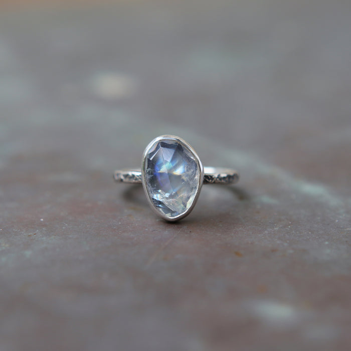 Rainbow Moonstone Rose Relic Ring - Size 5