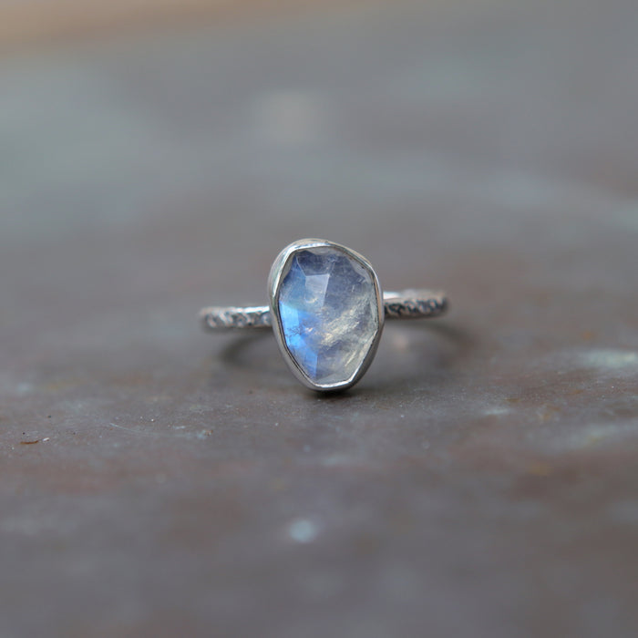 Rainbow Moonstone Rose Relic Ring - Size 7