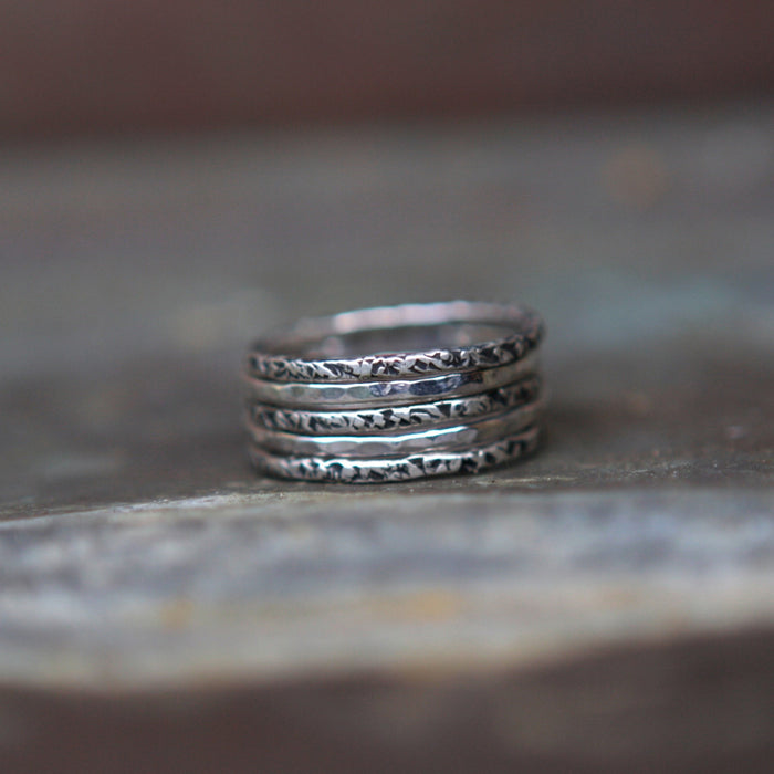Relic And Hammered Stacking Set