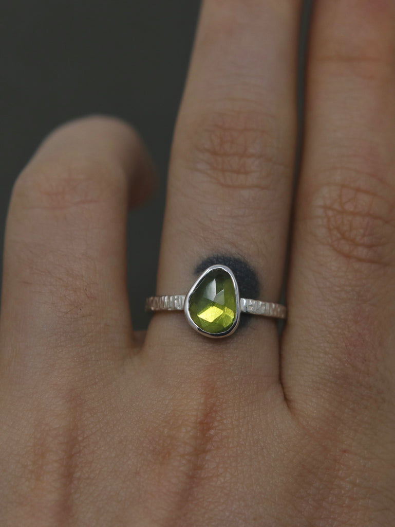 Peridot Stargazer Ring - Size 6 and 6.5