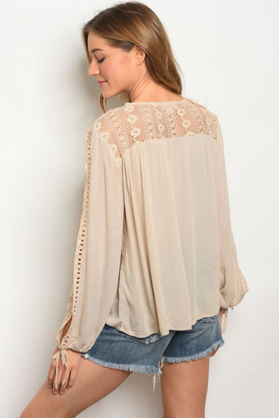 Women's Boho Slit Sleeve Tunic Blouse Taupe, WOMENS TOPS, WFS, Pink Maisy- PinkMaisy Premium Women Clothing Boutique