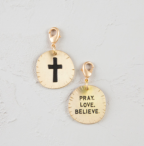 Natural Life Cross Pray. Love . Believe Junk Market Charm, ACCESSORIES, natural life, Pink Maisy- PinkMaisy Premium Women Clothing Boutique