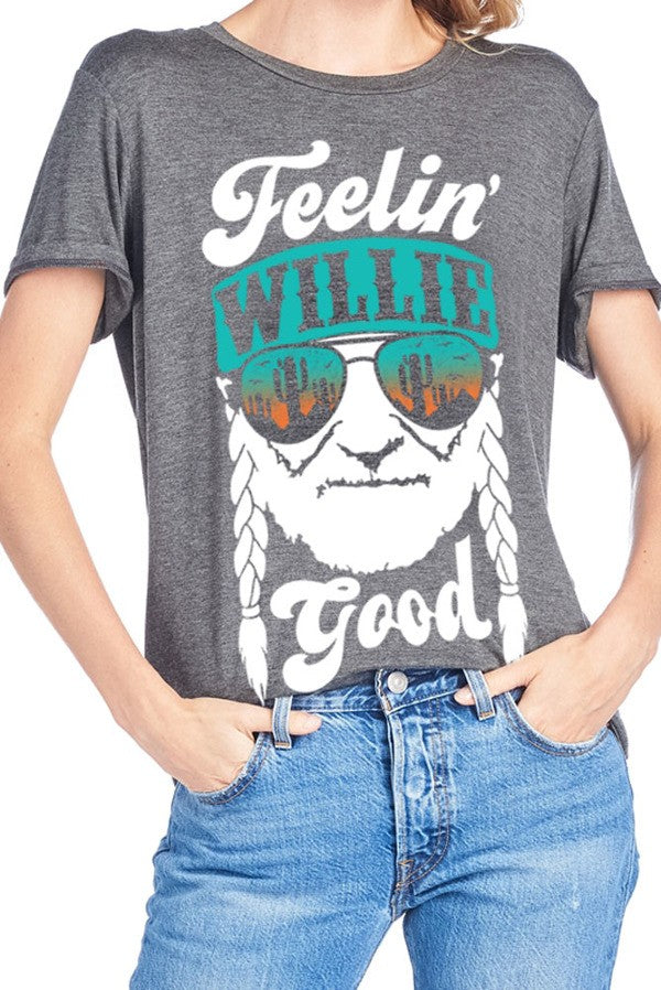Women's Feelin' Willie Good Gray T-Shirt, WOMENS TOPS, Turning Point, Pink Maisy- PinkMaisy Premium Women Clothing Boutique