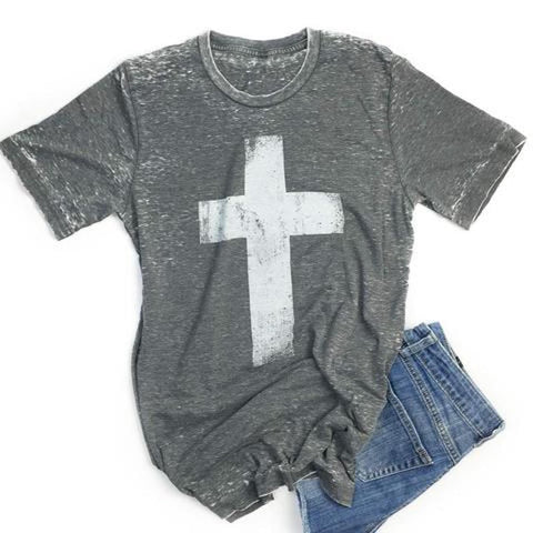 Crazy Cool Threads Women's Cross T-Shirt Acid Wash Gray, WOMENS TOPS, crazy cool threads, Pink Maisy- PinkMaisy Premium Women Clothing Boutique