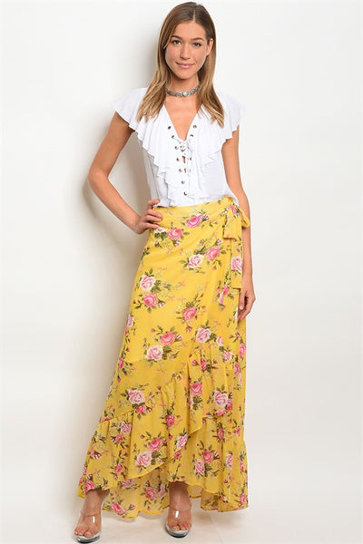 Yellow floral wrap maxi skirt, WOMENS BOTTOMS, WFS, Pink Maisy- PinkMaisy Premium Women Clothing Boutique