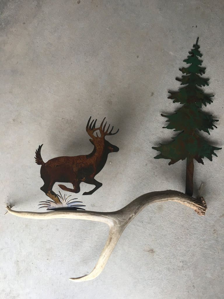 C)113 Whitetail Running Authentic Antler u0026 Metal Wall Art : metal antlers wall art - www.pureclipart.com