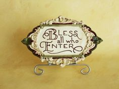 Christmas Plaque - Bless All / Ceramic: Bless All Who Enter
