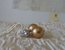 Load image into Gallery viewer, Unique Pearl Earrings - Vintage Gold and Light Grey Swarovski Pearls Sterling Silver Earrings, Dangle, Pearl Drop Earrings