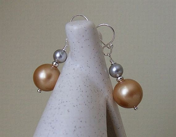 Unique Pearl Earrings - Vintage Gold and Light Grey Swarovski Pearls Sterling Silver Earrings, Dangle, Pearl Drop Earrings