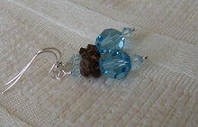 Load image into Gallery viewer, Beautiful Aquamarine and Smoky Quartz Drop Earrings