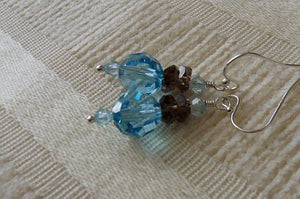 Beautiful Aquamarine Swarovski Crystal Rounds and Smoky Quartz Drop Earrings - Sterling Silver, Dangle, Neoclassical Style
