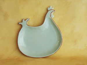 Plate - Hen Shaped / Cottage Style / Ceramic