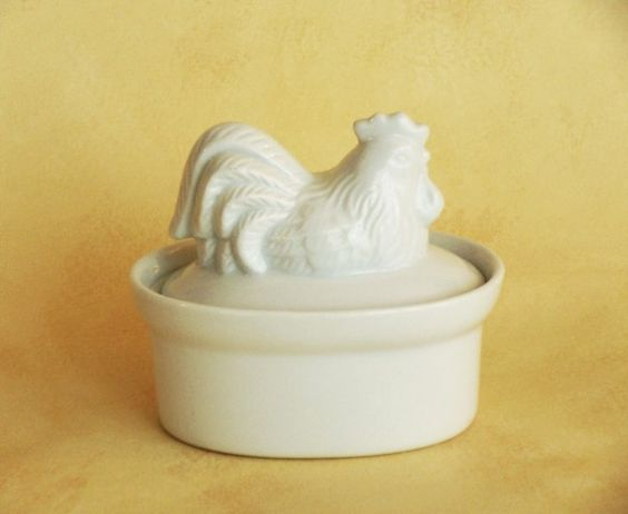 Small Container With Cover - Rooster / Ceramic