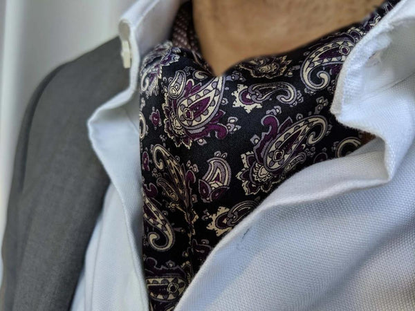 ascot tie for sale purple and black paisley