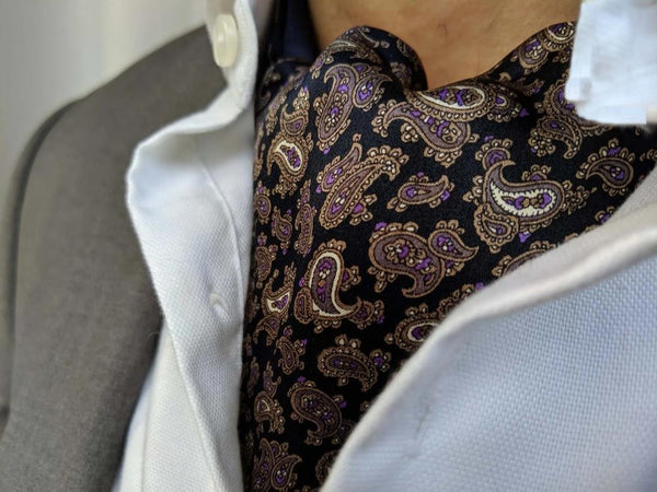 ascot tie for sale purple paisley