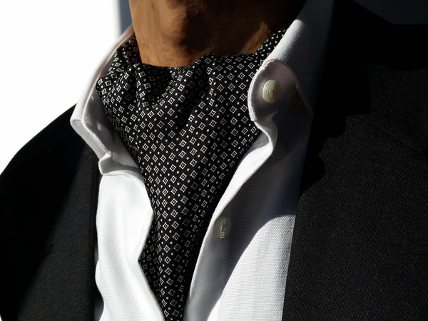 Ascots For Sale - Silk Black Ascot Tie For Sale