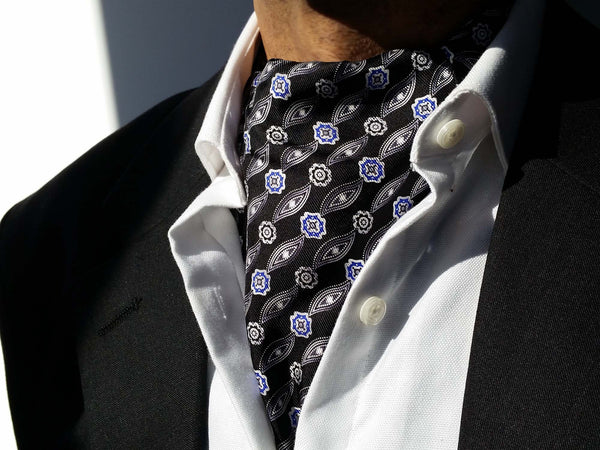 Ascots For Sale - Black Silk Ascot Tie For Men