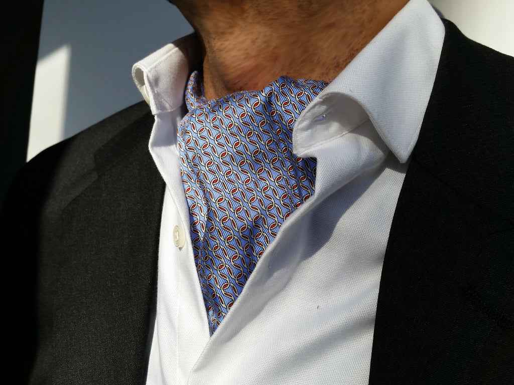 The Valiant Sea Silk Ascot (Blue Pattern)