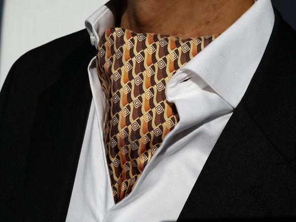 Ascots For Sale - Brown Silk Ascot Tie For Sale