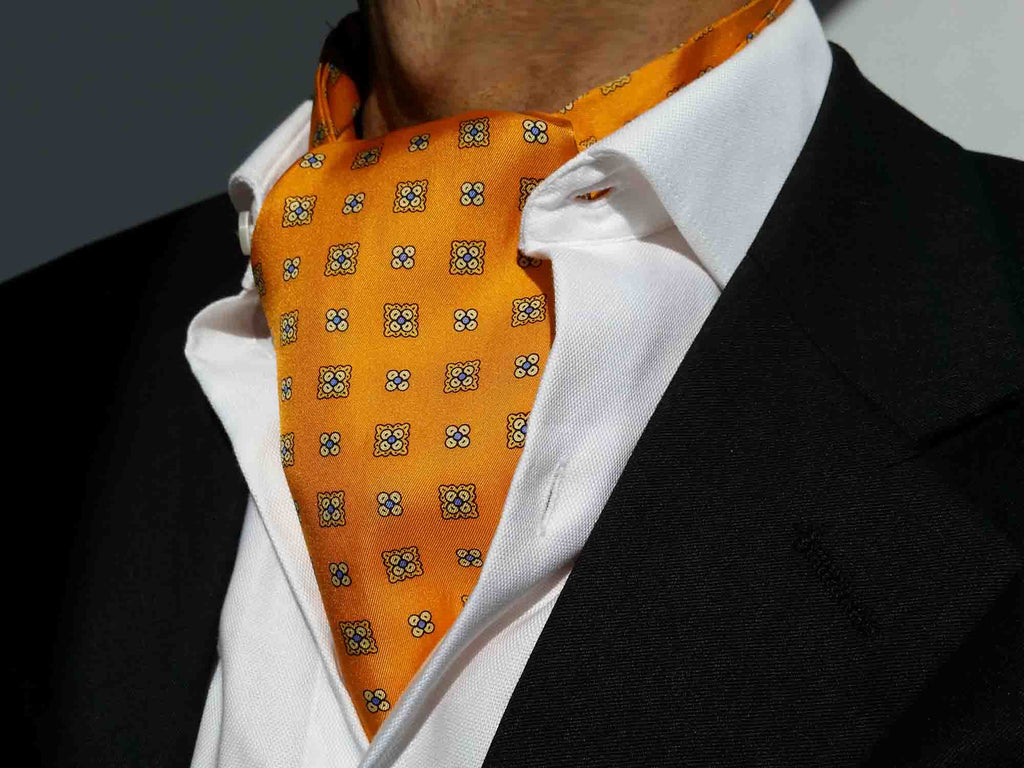 Ascot ties for men: Orange silk ascots