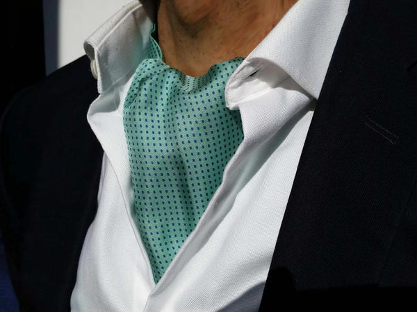 Silk Ascot Tie For Sale Turquoise
