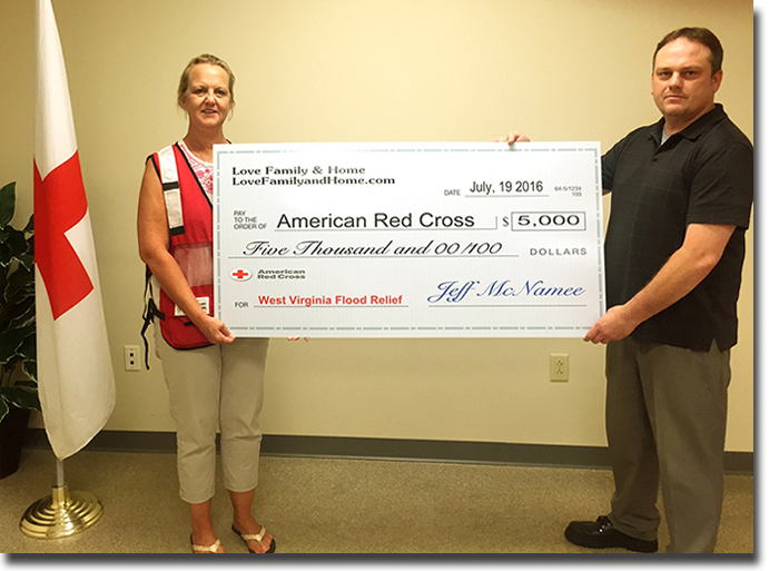 Donating $5,000 To The American Red Cross West Virginia Flood Relief Fund